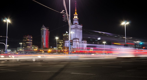Palace of culture by night in Warsaw