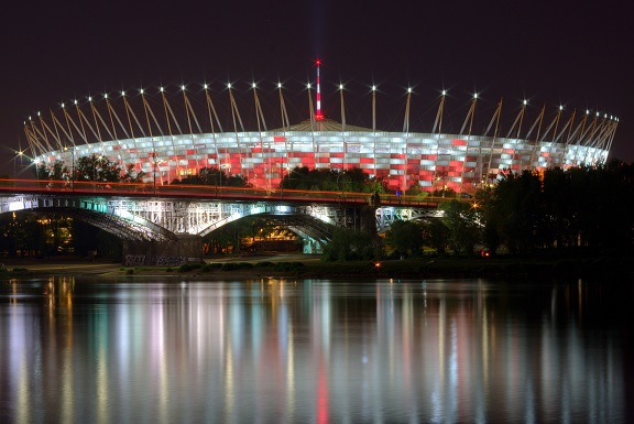 National stadion of Poland in Warsaw by night