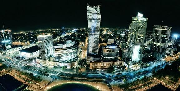 Skyline Warszawa w nocy