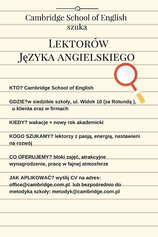 Cambridge School of English rektutuje www